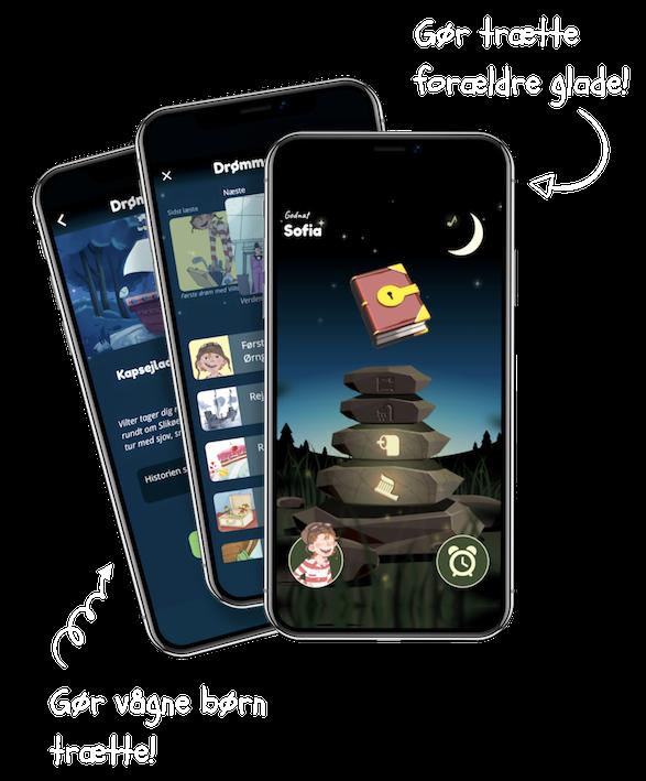 Vilters Godnathistorier app 3 skærme