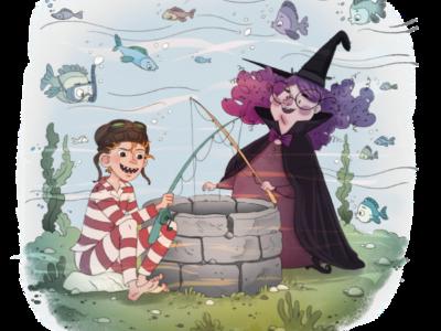 Vilter og heks ved brønd under vandet
