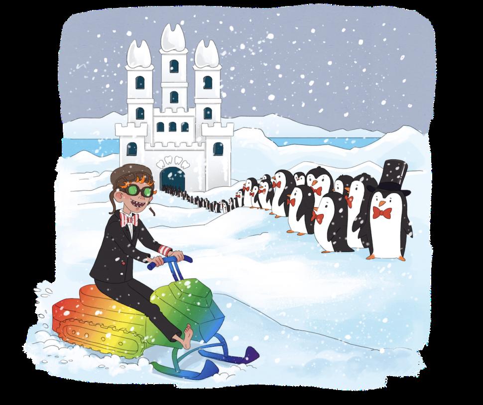 Vilter i antarktis på snescooter