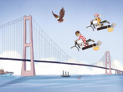 Vilter på luftmotorcykel over Storebæltsbroen